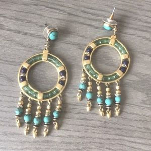 Turquoise and Gold Katelyn Stella & Dot Earrings